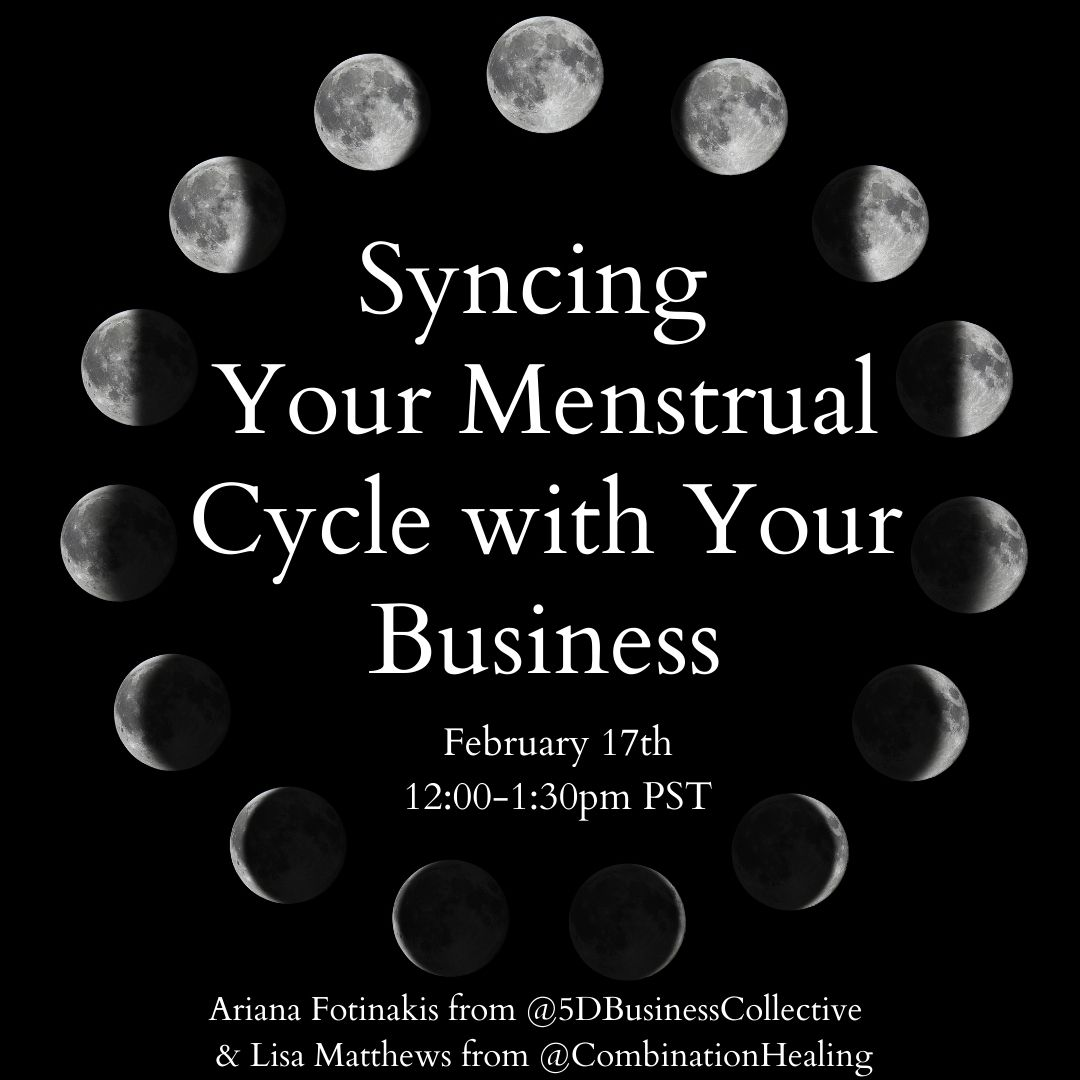 moon going through it's cycle in the background with the words syncing your menstrual cycle with your business