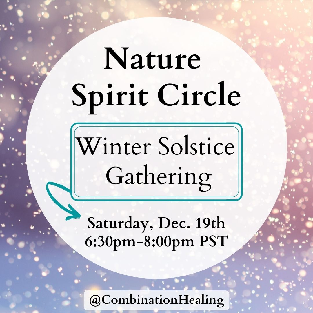 snowflakes in background with text nature spirit cirlce and winter solstice gathering